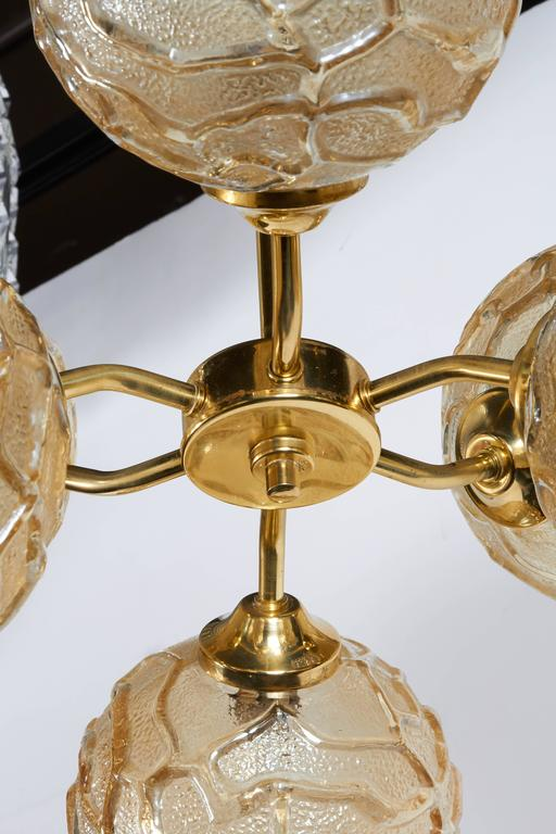 French Mid-Century Sputnik Chandelier with Champagne Glass Globes 8