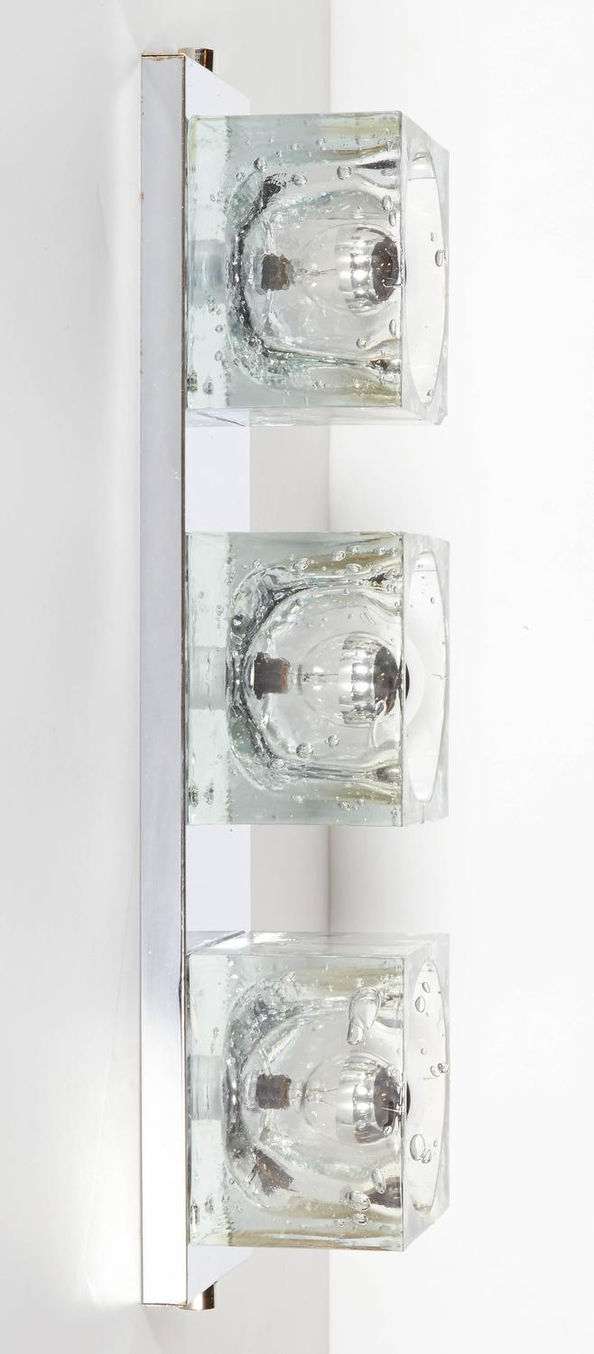 Large Glass Wall Lights : Mid-Century Modern Wall Light with Large Glass Block Shades by Gaetano Sciolari at 1stdibs