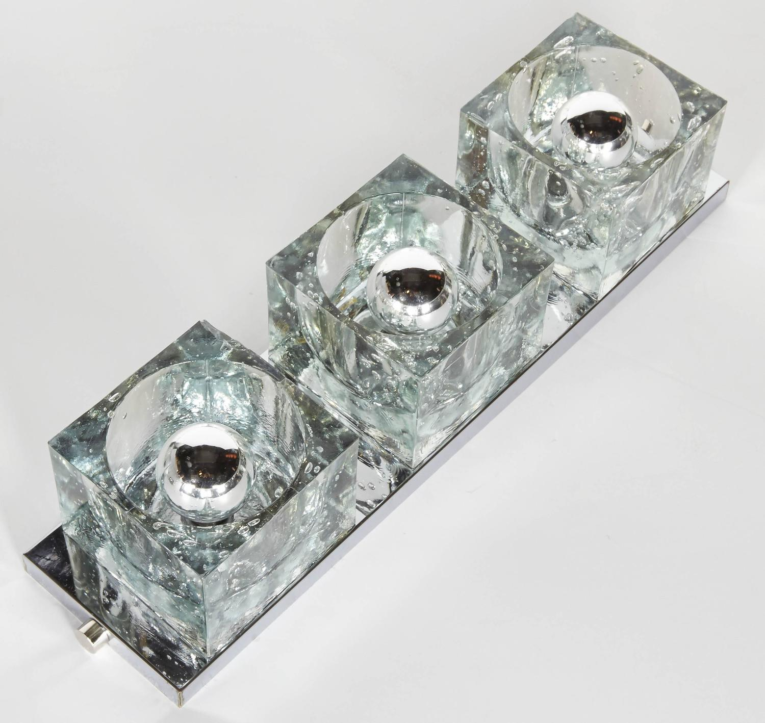 Mid-Century Modern Wall Light with Large Glass Block Shades by Gaetano Sciolari at 1stdibs