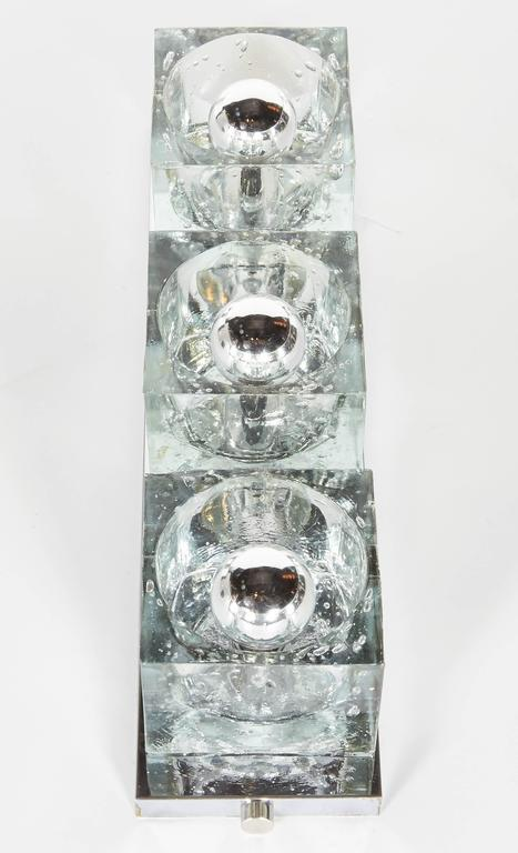 Mid-Century Modern Wall Light with Large Glass Block Shades by Gaetano Sciolari at 1stdibs