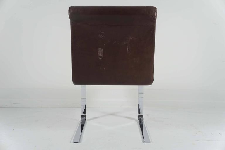 Mid-Century Modern Pair of Pace Collection Dining Chairs in Leather and Chrome For Sale
