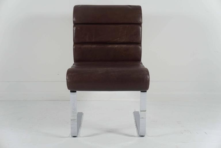 Italian Pair of Pace Collection Dining Chairs in Leather and Chrome For Sale