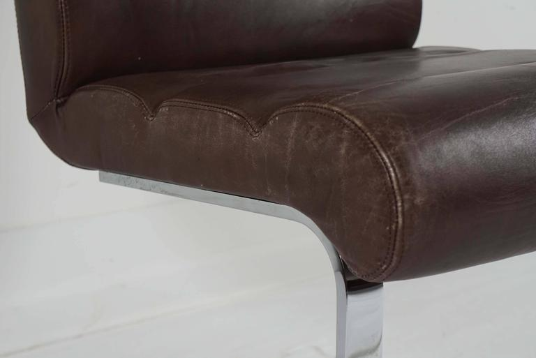 Late 20th Century Pair of Pace Collection Dining Chairs in Leather and Chrome For Sale