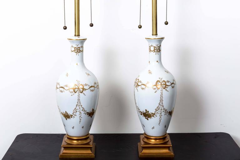 Brass Pair of Monumental White French Porcelain Table Lamps For Sale