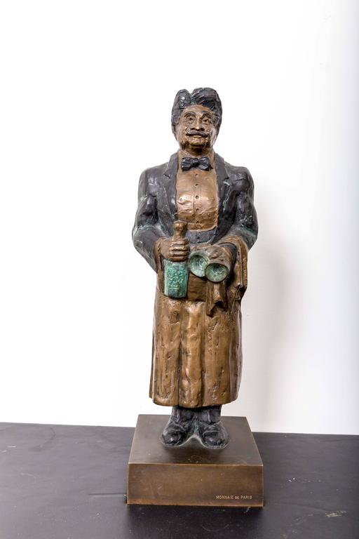 French Guy Buffet Bronze Statue Titled Le Sommelier; Gaston For Sale