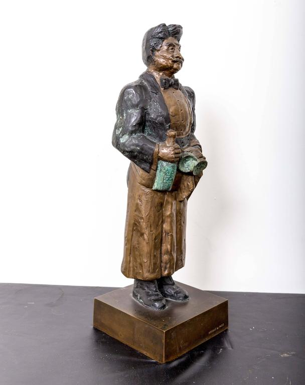 Guy Buffet Bronze Statue Titled Le Sommelier; Gaston In Good Condition For Sale In Southampton, NY