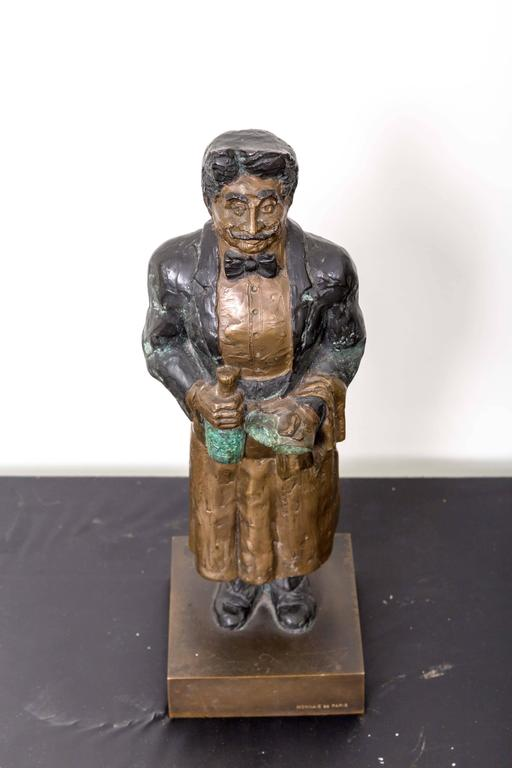 Guy Buffet Bronze Statue Titled Le Sommelier; Gaston For Sale 5