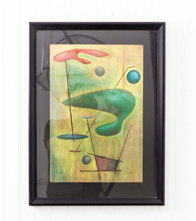 Mid-Century signed pastel drawing featuring striking modernist cosmic print. Statement art signed by Winer or Weiner.