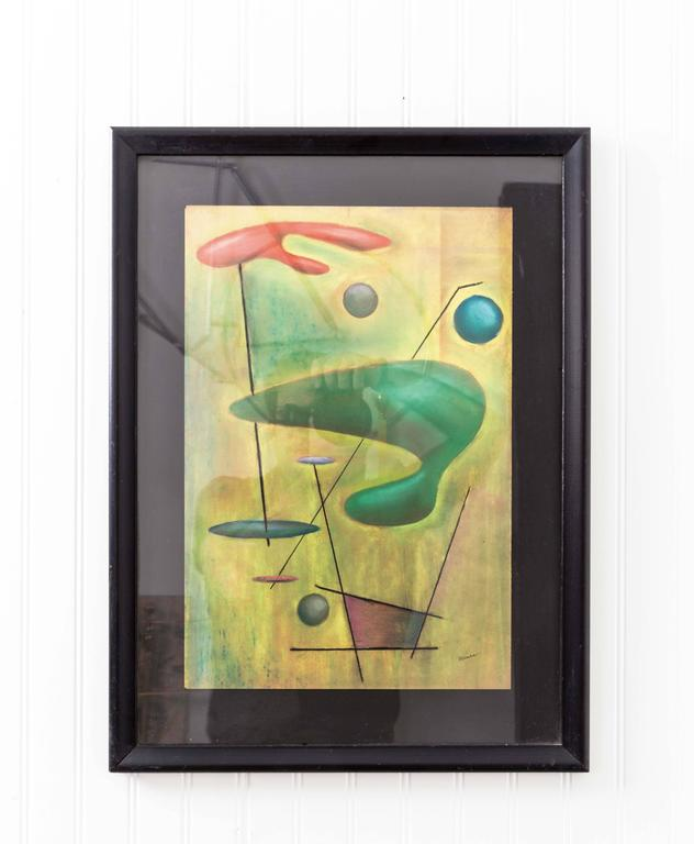 Unknown Signed Mid-Century Modernist Pastel Drawing by Funky Finders For Sale
