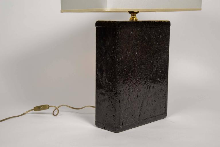 French Original Pair of Black Lava Rock Lamps For Sale