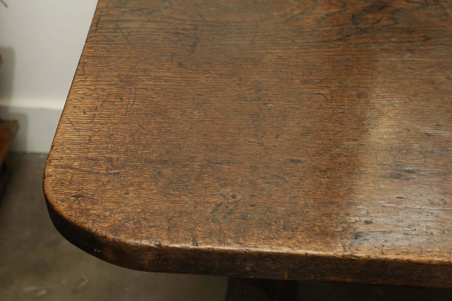 18th century single plank top trestle monastery table for sale at