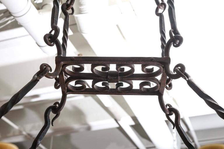 Early 20th Century Eight Light Iron Chandelier At 1stdibs