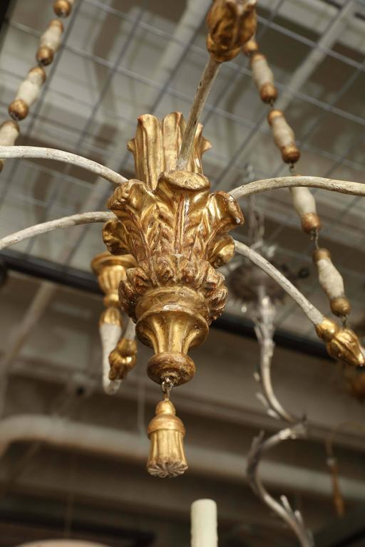 18th century painted and gilt Venetian chandelier from a dealer's home. Made with beautiful fragment details and proportions. Ready to use with candles.