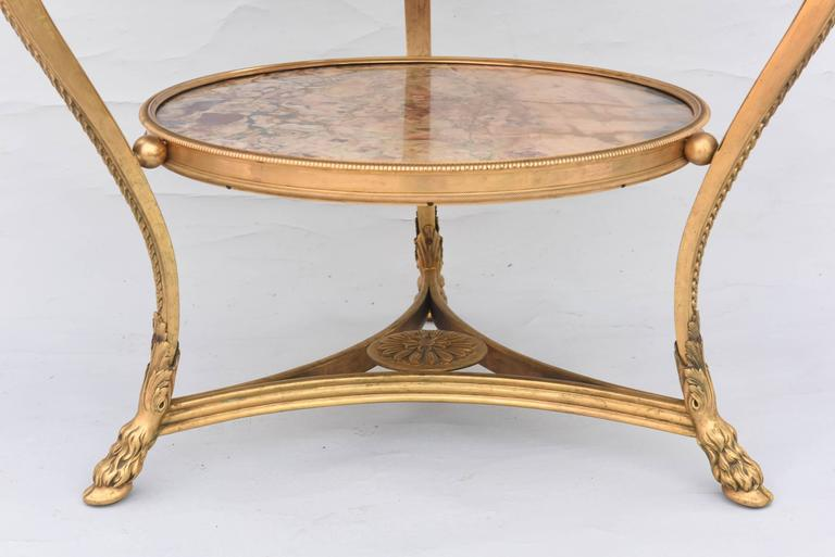 Gilt Exceptional Pair of 19th Century French Bronze and Marble Gueridons For Sale