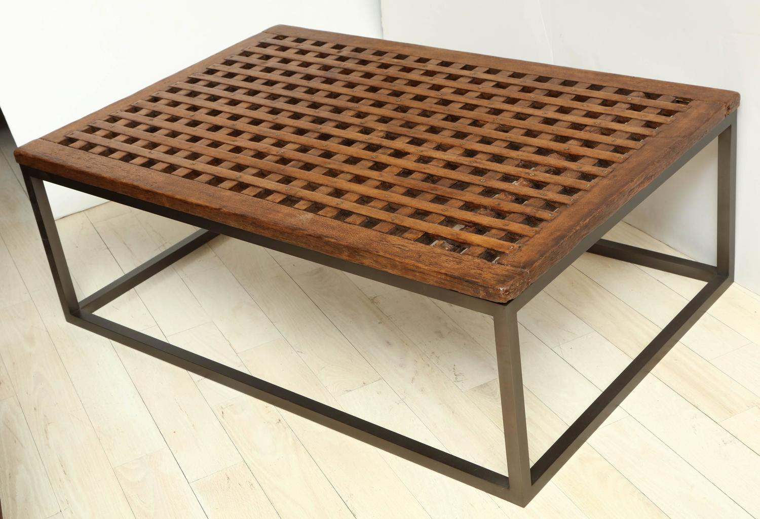 Custom Wood And Steel Rectangular Coffee Table With Slatted Top Circa 1960s At 1stdibs