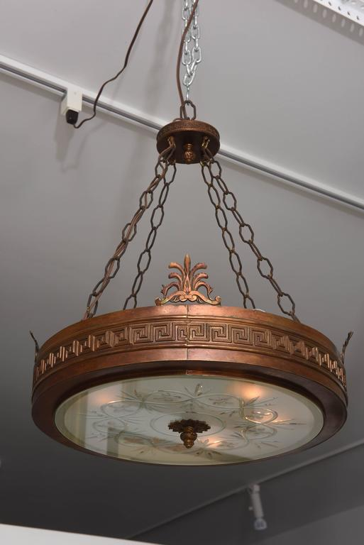 Neoclassical, Art Deco Chandelier in Bronze, Frosted and Cut Glass 2