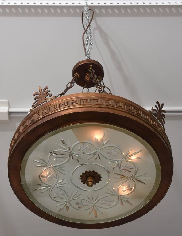 Neoclassical, Art Deco Chandelier in Bronze, Frosted and Cut Glass 3