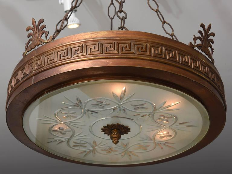 Neoclassical, Art Deco Chandelier in Bronze, Frosted and Cut Glass 5