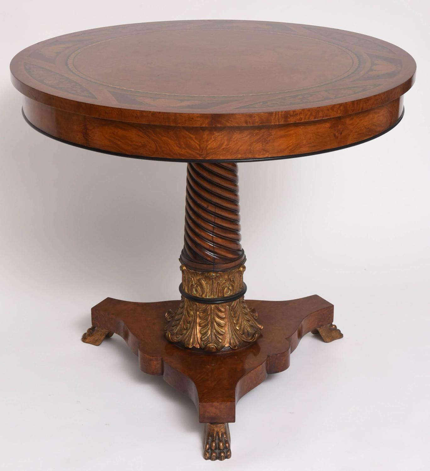 Neoclassical style center table with marquetry top rho for Mobili epoca