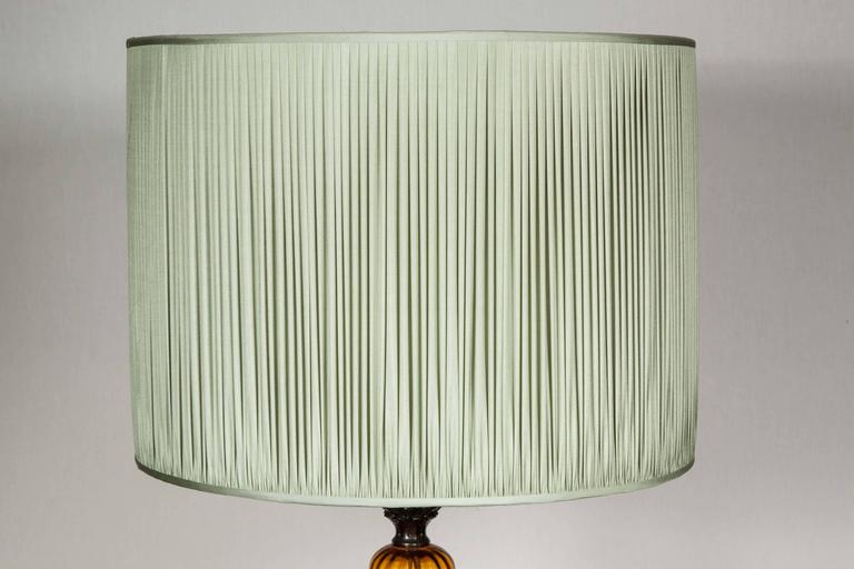 Bright Green Lamp Shade : Round bright amber glass table lamp with pale green