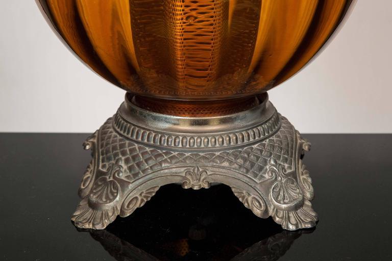 Round Dark Amber Glass Lamp Base With Modern Square Silk