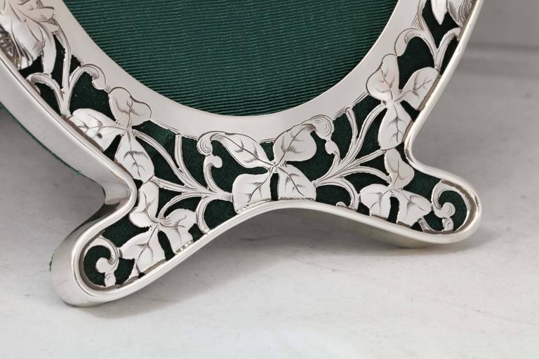 American Art Nouveau Sterling Silver Pierced Footed Oval Picture Frame For Sale