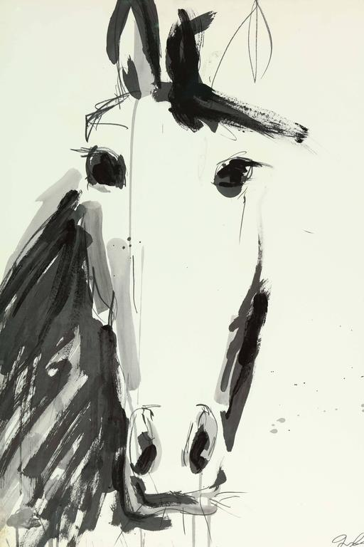 Decorative horse painting by Jenna Snyder-Phillips circa 2012. Sumi ink, charcoal and lacquer on 100% cotton paper.