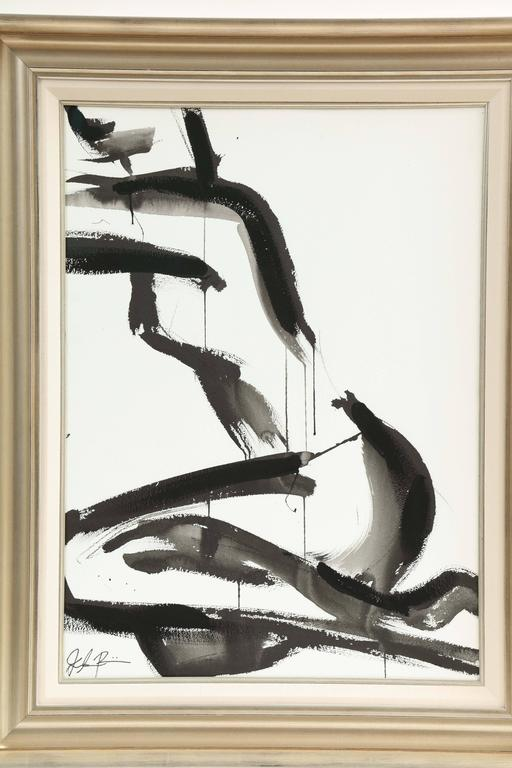 Nude painting by Jenna Snyder-Phillips, circa 2015. Sumi ink, charcoal and lacquer on museum quality 100% cotton paper. Frame is not included. Artist is educated in Italy and USA. We just sold this nude painting but we have another one, very