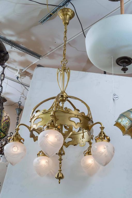 Art Nouveau Gilt Bronze Five Arm Chandelier For Sale At