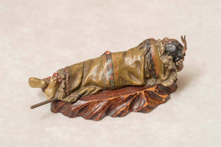 Anglo-Indian Austrian Polychrome Bronze of an Indian by the Bergmann Foundry For Sale