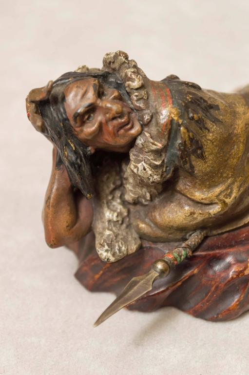 Austrian Polychrome Bronze of an Indian by the Bergmann Foundry In Excellent Condition For Sale In San Francisco, CA
