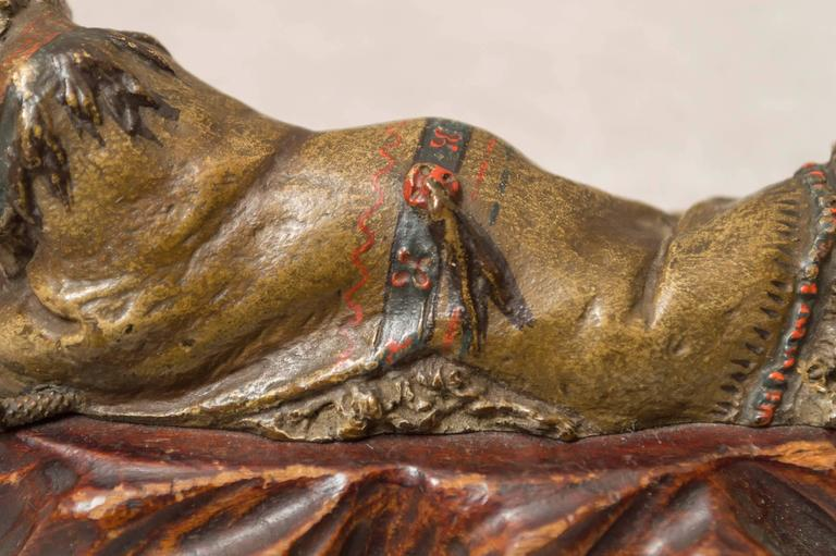 Austrian Polychrome Bronze of an Indian by the Bergmann Foundry For Sale 1