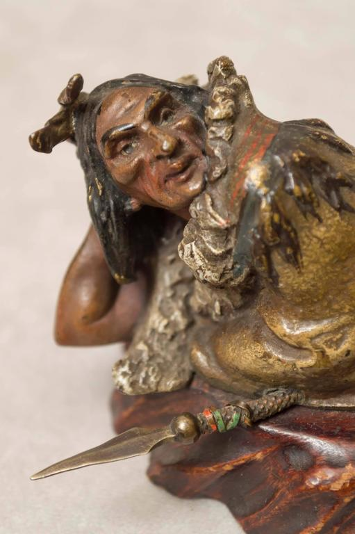 Austrian Polychrome Bronze of an Indian by the Bergmann Foundry For Sale 2