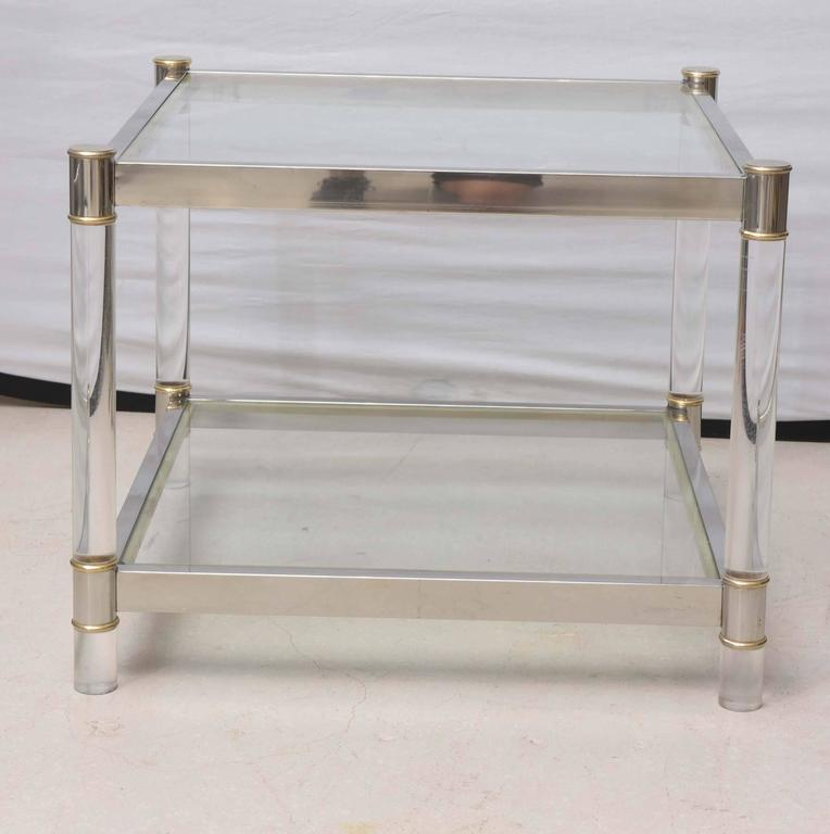 Two-Tone Lucite Side Table in the Style of Maison Jansen 2