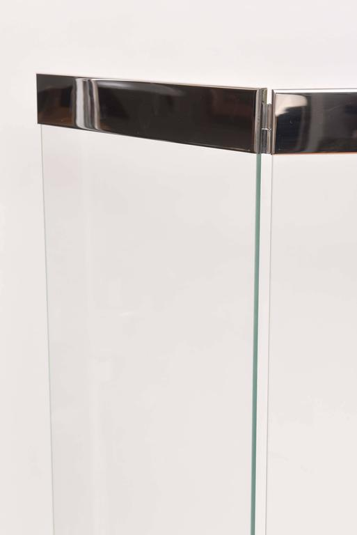 Vintage Polished Chrome And Glass Fireplace Screen With Matching