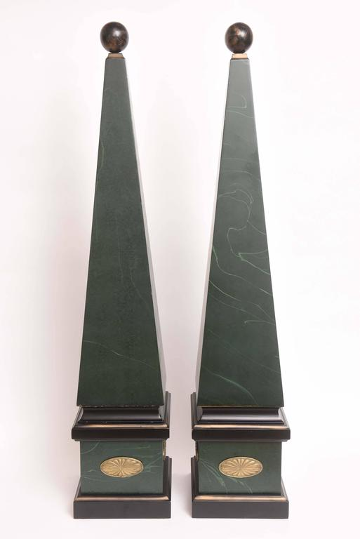Large Pair of Vintage Wood Obelisks For Sale 3