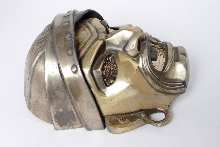 Machine Age Art Deco Cast Metal Pirate,  Illuminated Theater Wall Sconce   In Good Condition For Sale In Dallas, TX
