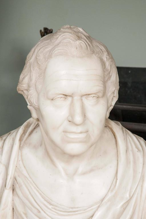 Carved in Italian statuary marble, possibly by Peter Turnerelli (1774–1839), a successful Irish-born sculptor of Italian descent working in Britain in the late 18th / early 19th century. Tunerelli taught modelling to the daughters of George III