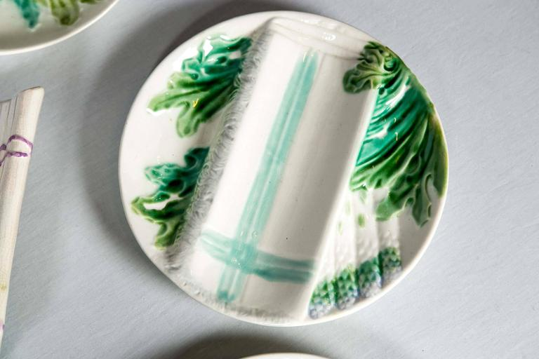 French Majolica Asparagus Set, Salins, Late 19th Century For Sale 1