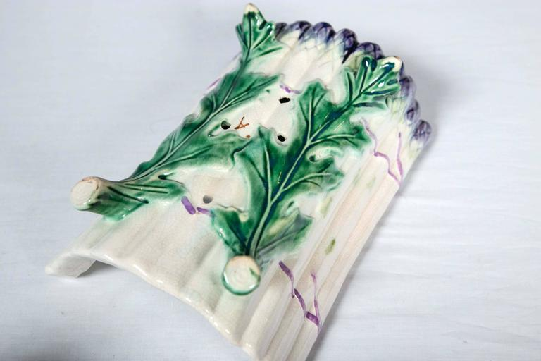 French Majolica Asparagus Set, Salins, Late 19th Century For Sale 4