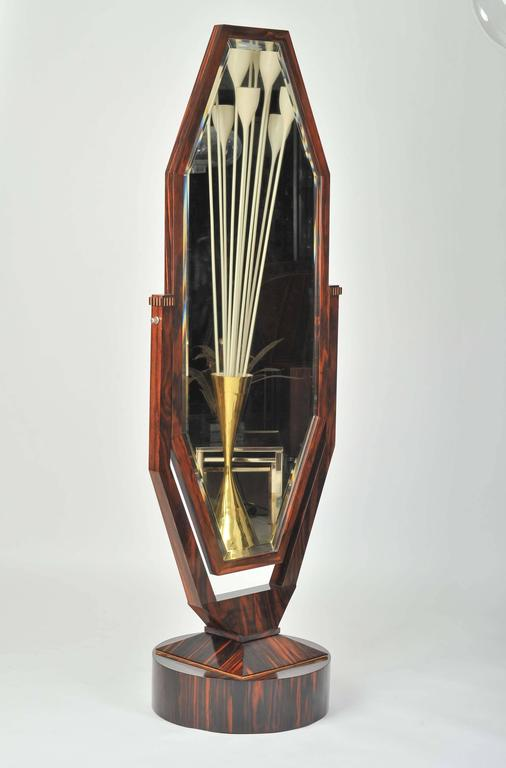 Free standing art deco cheval mirror in palisander for 6 foot floor mirror