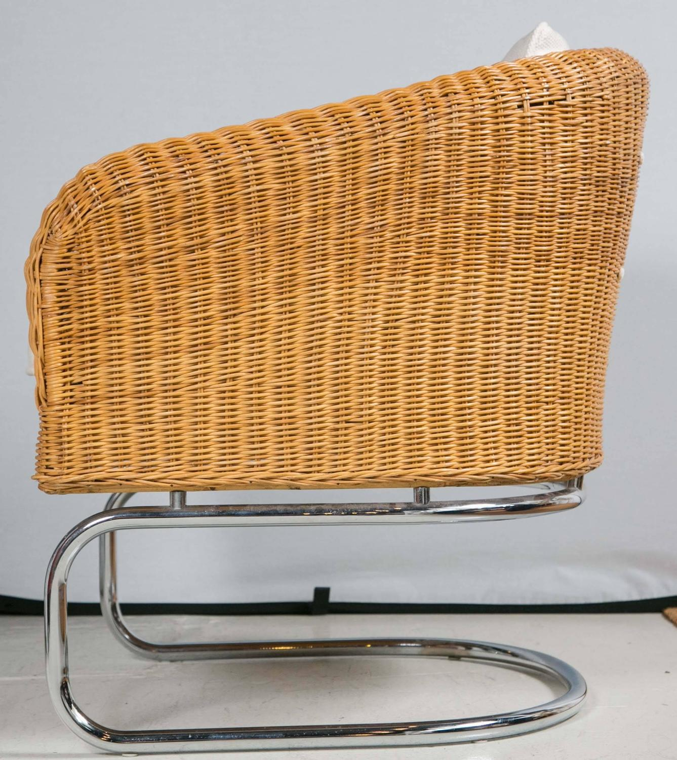 Wicker Barrel Chair Mid Century Wicker And Chrome Barrel Chairs At 1stdibs