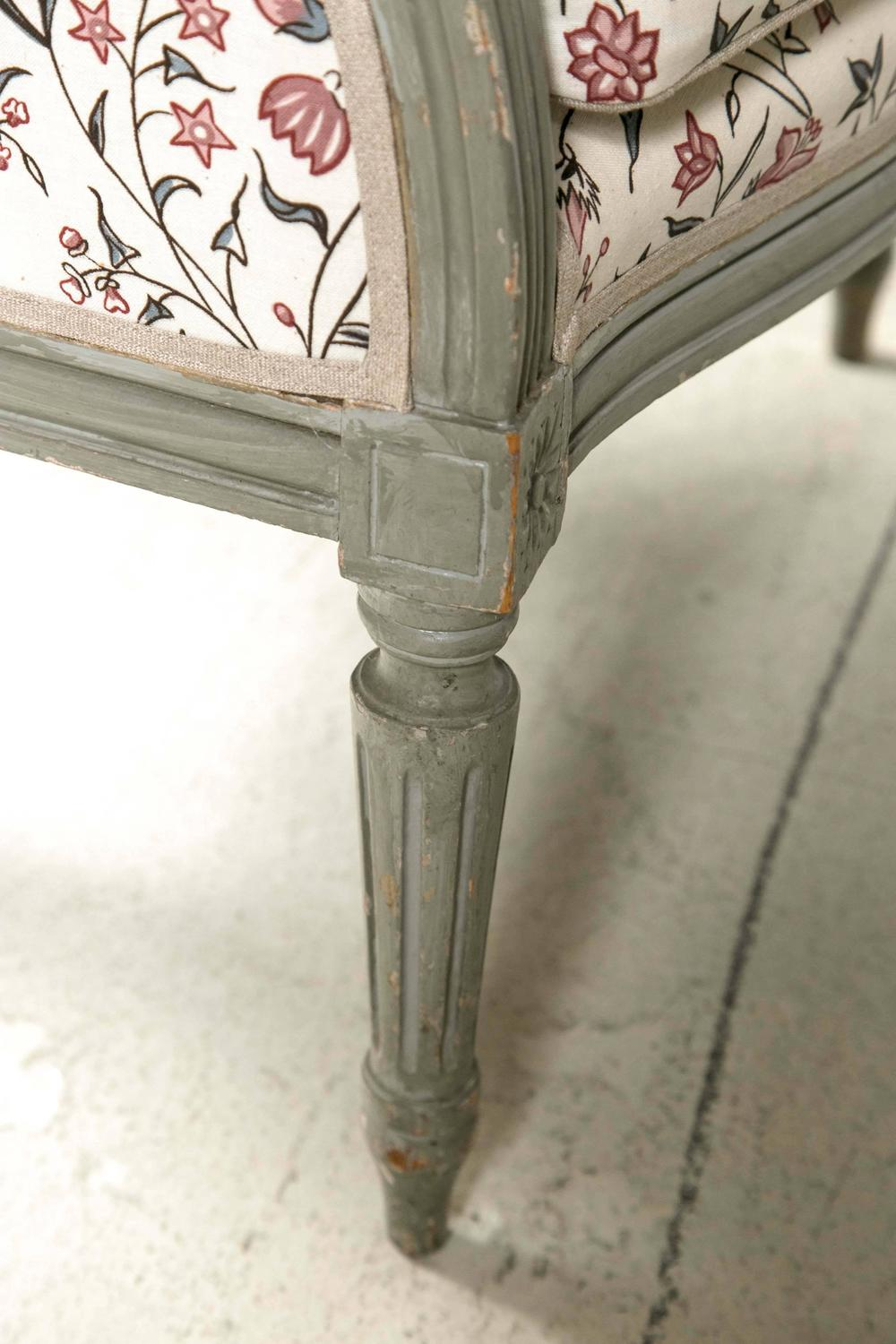 Grey Painted 19th Century Berg 232 Re And Stool For Sale At
