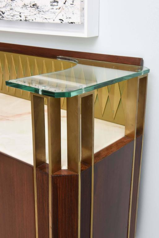 Rare French Modern Mahogany, Bronze and Brass Bar Cabinet, Raphael In Excellent Condition For Sale In Miami, FL