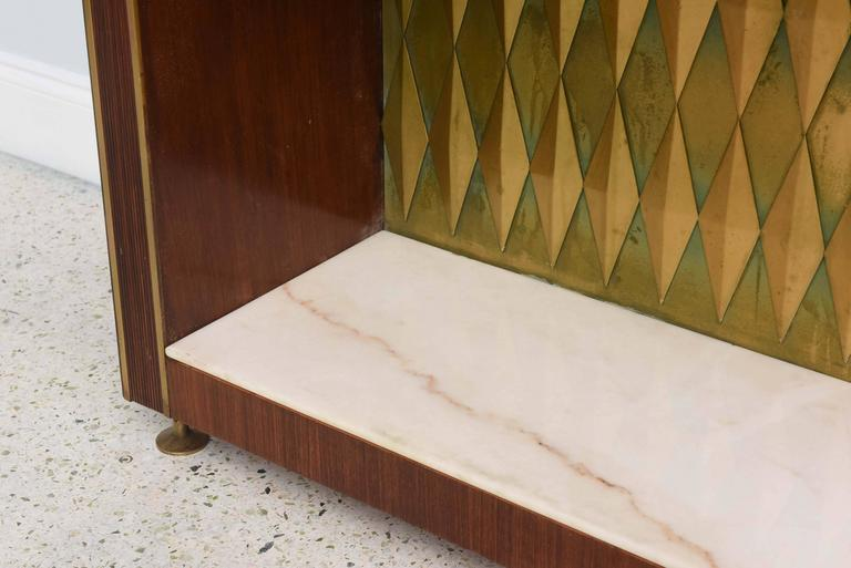 Mid-20th Century Rare French Modern Mahogany, Bronze and Brass Bar Cabinet, Raphael For Sale