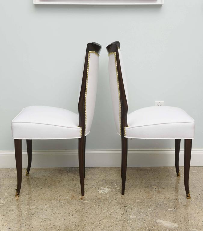 Mid-20th Century Set of Eight Italian Modern Palisander and Brass Dining Chairs, Osvaldo Borsani For Sale
