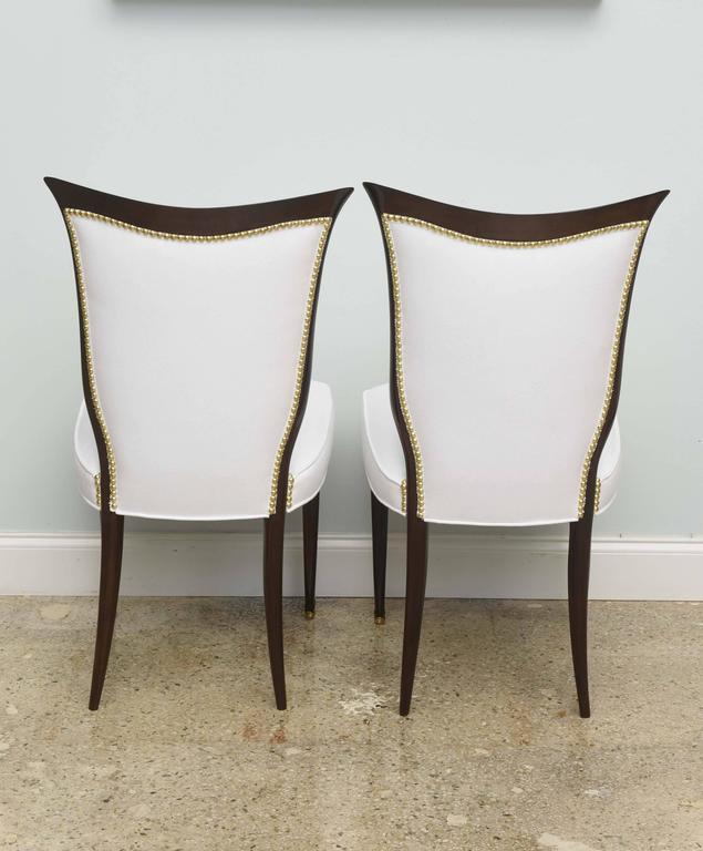 Set of Eight Italian Modern Palisander and Brass Dining Chairs, Osvaldo Borsani For Sale 2