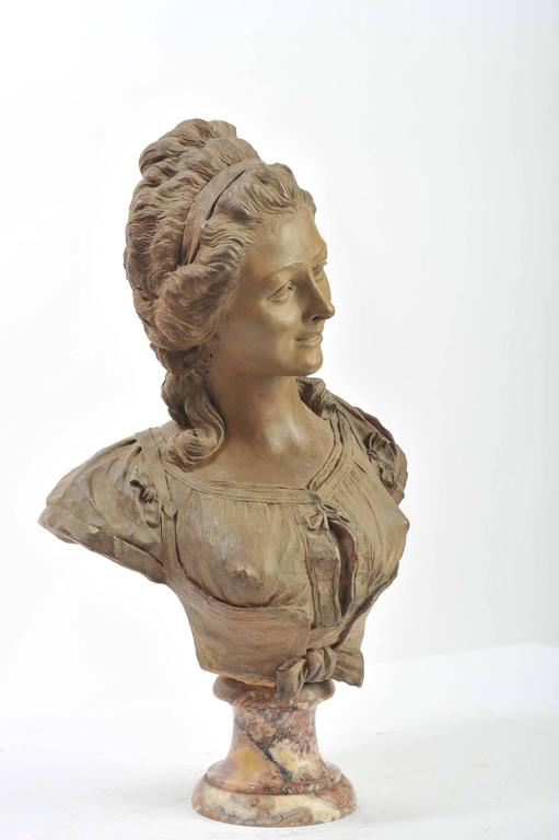 Baroque 19th Century French Terracotta Bust For Sale