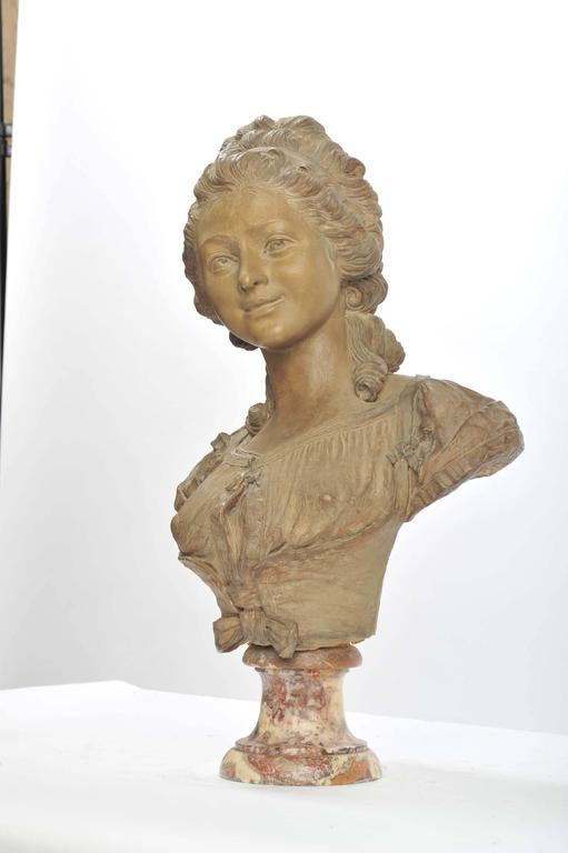 Cast 19th Century French Terracotta Bust For Sale