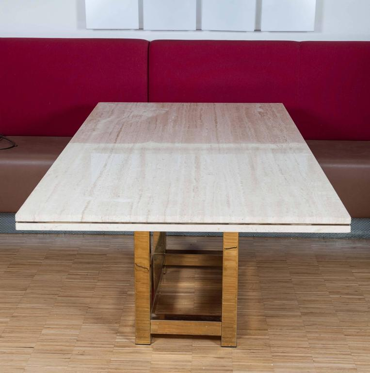 Hollywood Glam Dining Table With Br Base And Travertine Top